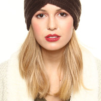 Twisted Knit Headwrap - Brown