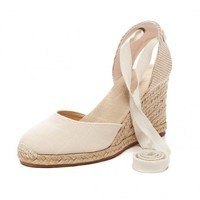 Tall Wedge Sandal - Linen Blush Espadrilles for Women from Soludos - Soludos Espadrilles