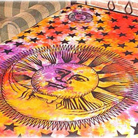 Tie-Dye Celestial Sun And Moon Tapestry