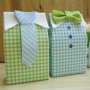 New Sale 20 pcs Little Man Blue Green Bow Tie Birthday Boy Baby Shower Favor Candy Treat Bag Wedding Favors Candy Box Gift Bag