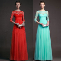 Mosaic Lace Long Sleeve Ball Gown Hollow Out Prom Dress = 5861459905