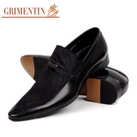 GRIMENTIN Fashion Italy mens dress shoes casual genuine leather with fur black business office designer slip on shoes for men flats