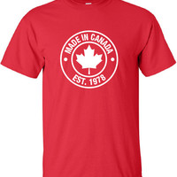 Made in Canada Established in 1978 (Or Any Year) Maple Leaf flag Shirt Canadian t-shirt eh nationality proud to be Canadian ML-385