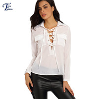 Modest Formal Clothing Office Ladies Work Wear Tops Plain Long Sleeve Lapel Lace Up Dual Pockets Loose Fashion Blouse