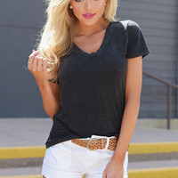 Hello There V-Neck Top - Vintage Black