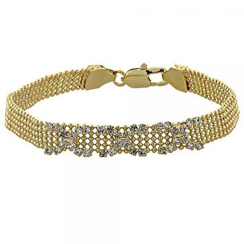 Gold Layered 03.63.0545 Fancy Bracelet, Hugs and Kisses Design, with White Cubic Zirconia, Golden Tone
