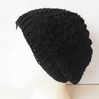 Wool Blend Slouch Beanie Hat in Black with Irish Rose, ready to ship.