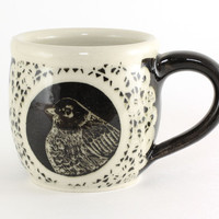 Black and White Animal Mug : American Robin