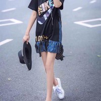 """Nike"" Women Casual Personality Multicolor Stripe Letter Irregular Frills Short Sleeve T-shirt Dress"