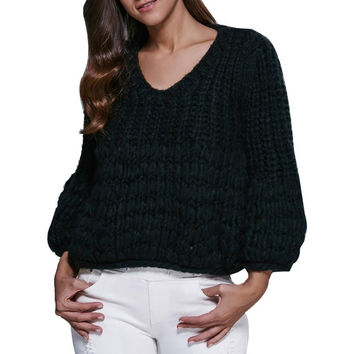 Fashion Women Loose Knitted Sweater Knitwear Outwear Pullovers Three Quarter Sleeve Sexy V Neck Shirt Tops Short mujer