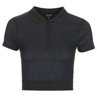 Knitted Polo Crop Top - Navy Blue
