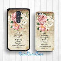 vintage flower quote case for iPhone 6 6 plus 5c 5 5s 4 4S Case - HTC One M7 M8 - LG Nexus 5 4 G2 G3 G2 mini case - Proverbs 31:25 (K33)