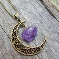 Amethyst Moon Necklace | Antique Bronze Necklace | Amethyst Jewelry | Raw Crystal Necklace | Half Moon Jewelry | Raw Amethyst Stone Necklace
