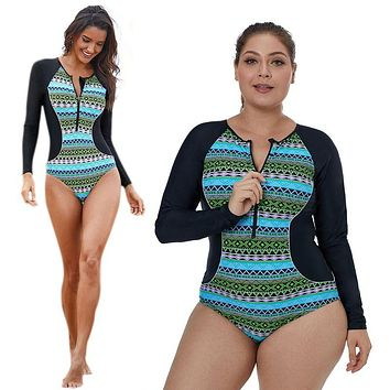 Plus Size One Piece Bohemian Geometric Pattern Patchwork Long Sleeves Snorkeling Surfing Swimsuit Zip Front O-Neck Beachwear