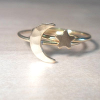 Crescent Moon and Star Duo Knuckle Rings-Layering Above the Knuckle Ring Gold Brass Stackable Midi Ring