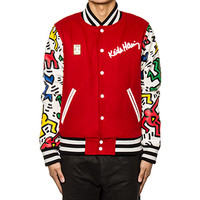 Joyrich | Man & Dog Varsity Jacket Red/Multi