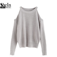 SheIn Sweaters For Woman Womens Fall Fashion Pullovers Sweater Women Cold Shoulder Long Sleeve Loose knitted Sweater