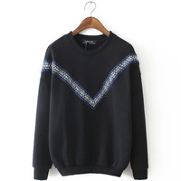 Unique Womens Girls Comfortable Embroidery Sweater Autumn Winter Top Outwear Gift 161