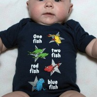 One Fish Two Fish, Dr Seuss Onesuit Is the Perfect Baby Gift! Adorable One Fish Two Fish, Dr Seuss Onesuit will make you heart melt.