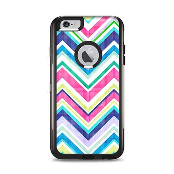 The Vibrant Pink & Blue Layered Chevron Pattern Apple iPhone 6 Plus Otterbox Commuter Case Skin Set