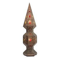Vintage Moroccan Punched Tin Lamp with Pressed Glass Panels
