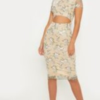 Nude Floral Embroidered Cut Out Midi Dress