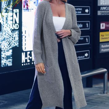 Women's hot style hot selling v-neck cardigan split