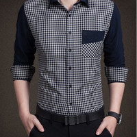 Checked Pocket Design Shirt Collar Long Sleeve Shirt