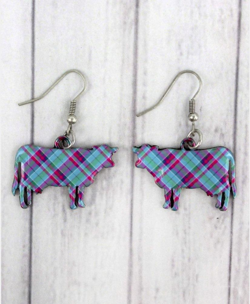 Image of Perfectly Plaid Cow Earrings