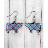 Perfectly Plaid Cow Earrings