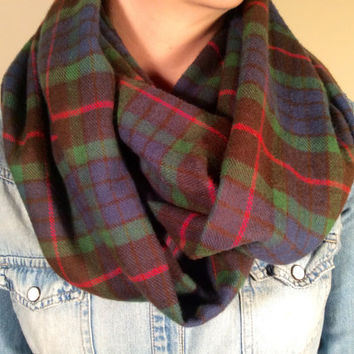 Infinity Scarf Plaid Flannel - Double Layer Super Warm!  Green, Blue and Red - Christmas Present Stocking Stuffer