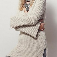 Beige Plain Cut Out Backless Slit Knit Plunging Neckline Loose Pullover Sweater