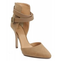 Delicious Aijah Leatherette Pointy Toe Wrap Ankle Strap Single Heel Pump MD TAN