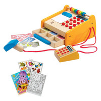 Hape E3121 Checkout Register Wooden Toy Set with Coloring Book