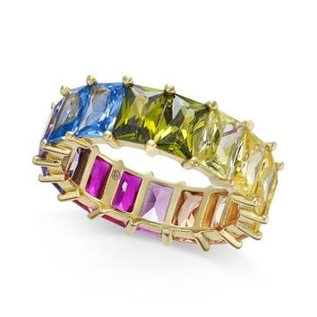 Inc Gold-Tone Multicolor Baguette Stone Ring
