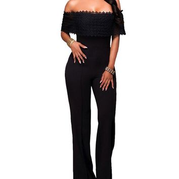 Gamery Women's Sexy Off Shoulder Ruffles Lace Wide Leg Palazzo Long Jumpsuits Rompers with Sleeve Clubwear Black 1 Small