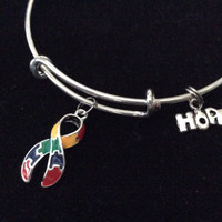 Autism Puzzle Awareness Ribbon Expandable Charm Bracelet Adjustable Wire Bangle Expandable Gift