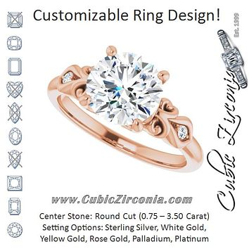 Cubic Zirconia Engagement Ring- The Natsumi (Customizable 3-stone Round Cut Design with Small Round Accents and Filigree)