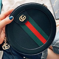 GUCCI New fashion stripe leather round shoulder bag crossbody bag Black