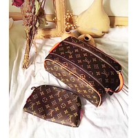 LV Louis Vuitton Classic Hot Sale Women Makeup Bag Cosmetic Bag Double Zipper Purse Wallet Handbag