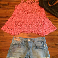 PEACH TOP AND JEAN SHORTS
