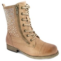 Mia Courtney Girls' Rhinestone Combat Boots