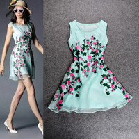Light Green Sleeveless Flowers Embroidered Swing Mini Dress