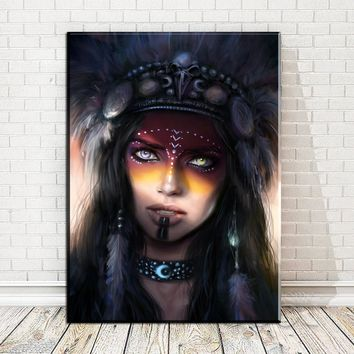 Indians Women Feather Abstract Nordic Posters and Prints Art Canvas Painting Home Decor Wall Pictures For Living Room