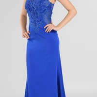 Royal Blue Embellished Bodice Sleeveless Fit and Flare Evening Gown
