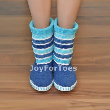 Crochet Boots Stripes Blue Light Blue Winter Snow for the Street Outdoor Boots 60s Boots Made to Order