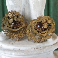 Vintage Dress Clips 30's Czech Amber and Brass Filigree Fur Clips