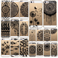 Luxury Phone Cases For Apple iPhone 5 5s SE Vintage Black Paisley Flower Floral TPU Back Cover Skin Case