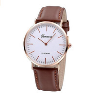 Unisex Vintage Brown Watch Leather Strap Wrist Band + gift box