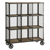 Crestview Industria Metal and Wood Bookcase - CVFZR1004